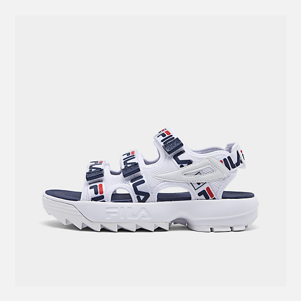 Right view of Women's Fila Disruptor Logo Athletic Sandals in White/Navy/Red
