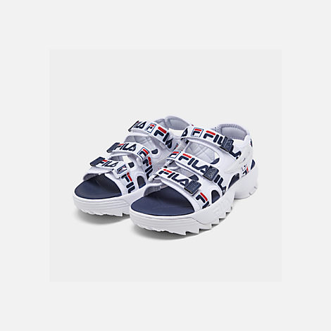 Three Quarter view of Women's Fila Disruptor Logo Athletic Sandals in White/Navy/Red