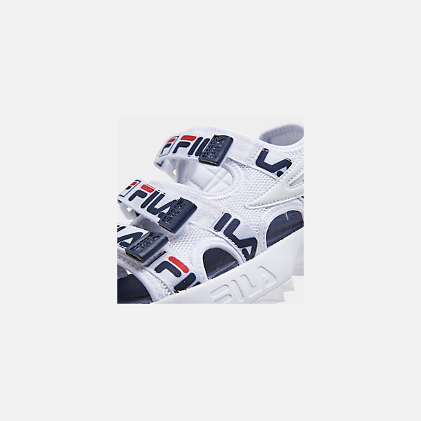 Front view of Women's Fila Disruptor Logo Athletic Sandals in White/Navy/Red
