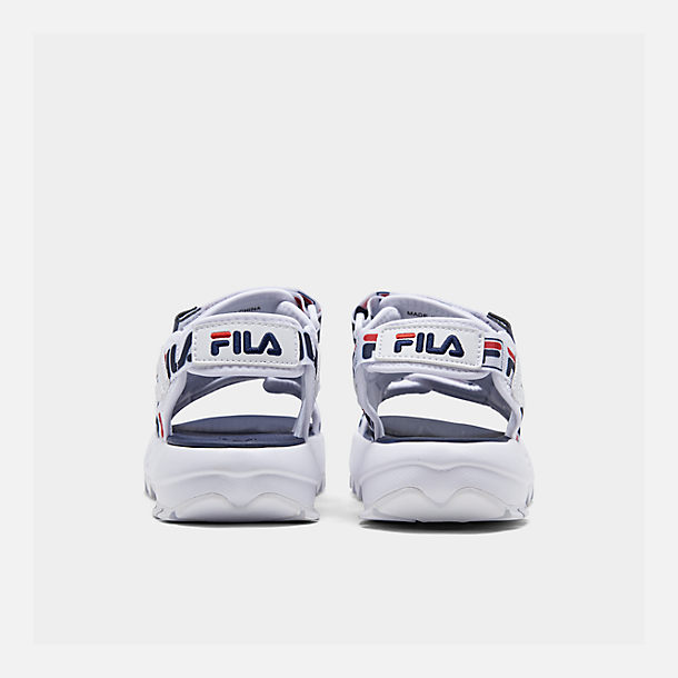 Left view of Women's Fila Disruptor Logo Athletic Sandals in White/Navy/Red