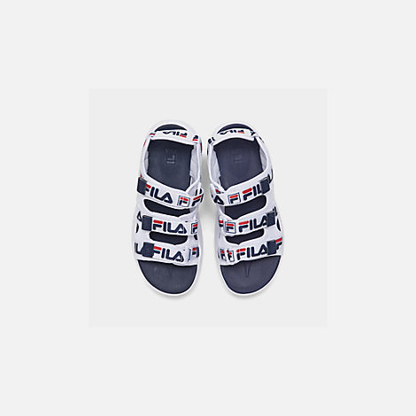 Back view of Women's Fila Disruptor Logo Athletic Sandals in White/Navy/Red