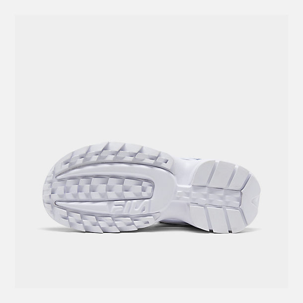 Bottom view of Women's Fila Disruptor Logo Athletic Sandals in White/Navy/Red