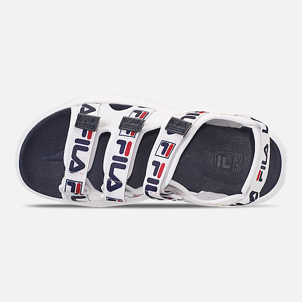 Top view of Women's Fila Disruptor Logo Athletic Sandals in White/Navy/Red