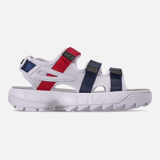 Right view of Women's Fila Disruptor Athletic Sandals in White/Navy/Red