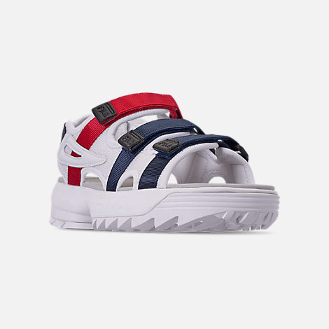 Three Quarter view of Women's Fila Disruptor Athletic Sandals in White/Navy/Red