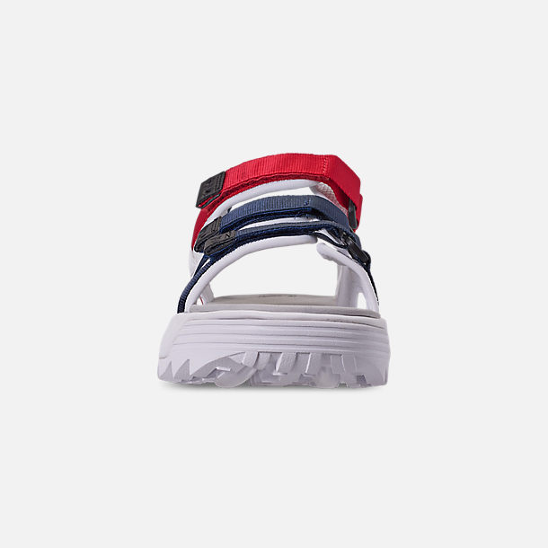 Front view of Women's Fila Disruptor Athletic Sandals in White/Navy/Red