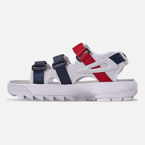 Left view of Women's Fila Disruptor Athletic Sandals in White/Navy/Red
