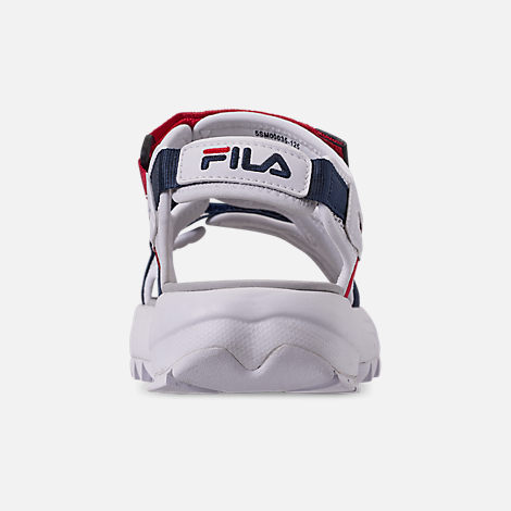 Back view of Women's Fila Disruptor Athletic Sandals in White/Navy/Red