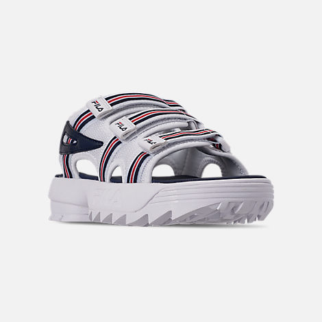 Three Quarter view of Women's Fila Disruptor Sandal HS Athletic Sandals in White/Red/Navy