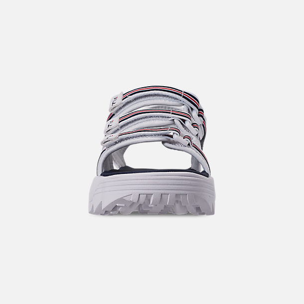 Front view of Women's Fila Disruptor Sandal HS Athletic Sandals in White/Red/Navy