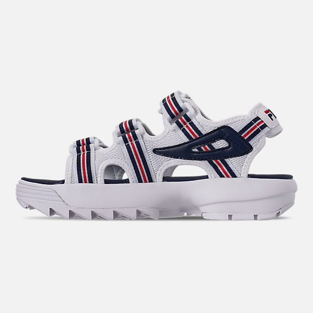 Left view of Women's Fila Disruptor Sandal HS Athletic Sandals in White/Red/Navy