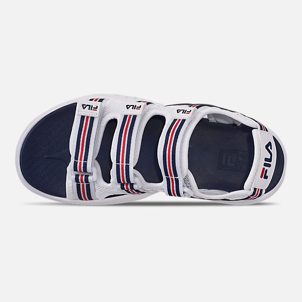 Top view of Women's Fila Disruptor Sandal HS Athletic Sandals in White/Red/Navy