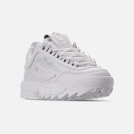Three Quarter view of Women's Fila Disruptor 2 Premium Casual Shoes in Triple White