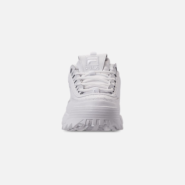 Front view of Women's Fila Disruptor 2 Premium Casual Shoes in Triple White