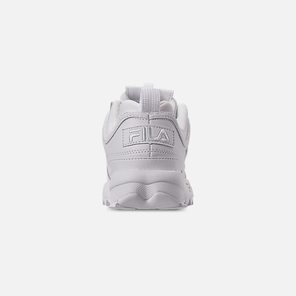 Back view of Women's Fila Disruptor 2 Premium Casual Shoes in Triple White