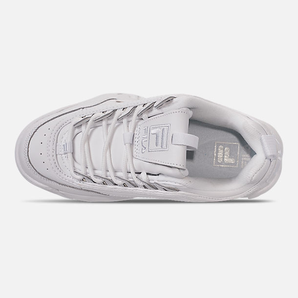 Top view of Women's Fila Disruptor 2 Premium Casual Shoes in Triple White