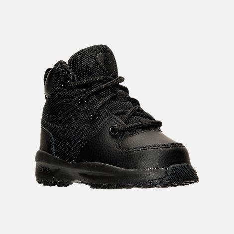 Three Quarter view of Boys' Toddler Nike Manoa Leather Textile Boots in Black/Black