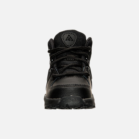 Front view of Boys' Toddler Nike Manoa Leather Textile Boots in Black/Black