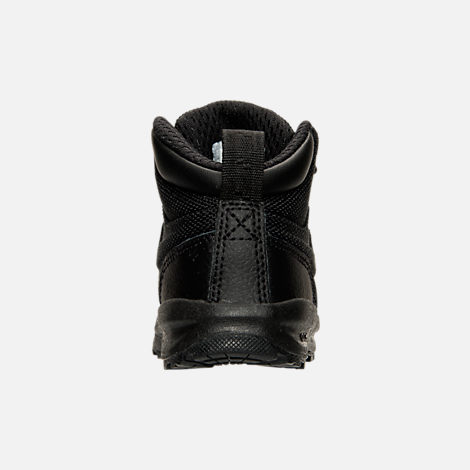 Back view of Boys' Toddler Nike Manoa Leather Textile Boots in Black/Black