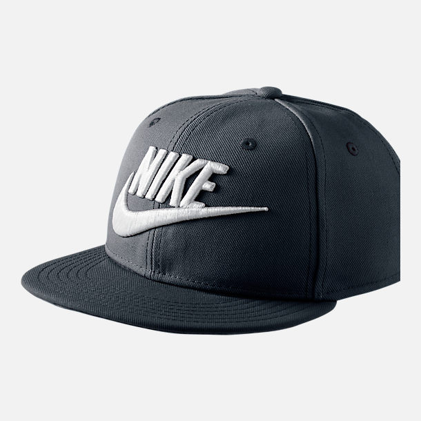 Front view of Kids' Nike Futura True Snapback Hat in Black/White