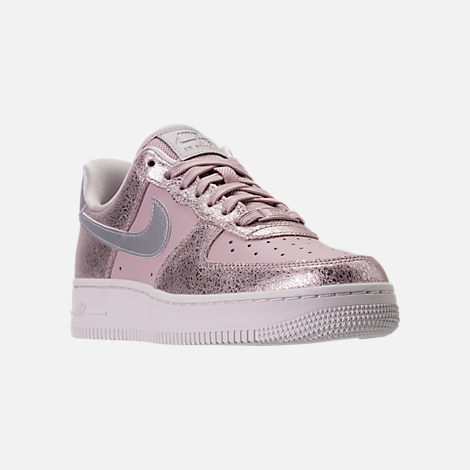 Three Quarter view of Women's Nike Air Force 1 '07 Premium Casual Shoes in Port Wine/Port Wine/Gum Med Brown