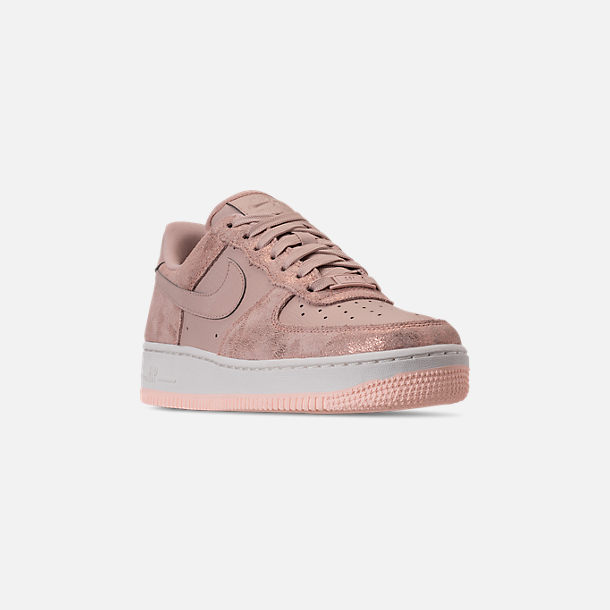 Three Quarter view of Women's Nike Air Force 1 '07 Premium Casual Shoes in Metallic Red Bronze/Particle Beige