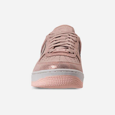 Front view of Women's Nike Air Force 1 '07 Premium Casual Shoes in Metallic Red Bronze/Particle Beige