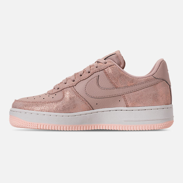 Left view of Women's Nike Air Force 1 '07 Premium Casual Shoes in Metallic Red Bronze/Particle Beige