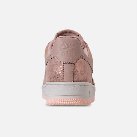 Back view of Women's Nike Air Force 1 '07 Premium Casual Shoes in Metallic Red Bronze/Particle Beige