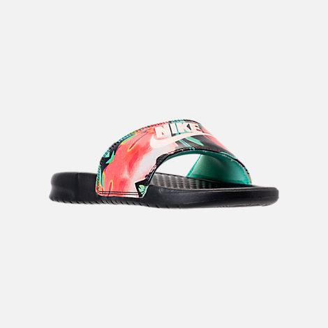 39756432f45e Three Quarter view of Women s Nike Benassi JDI Print Slide Sandals in Green  Glow Crimson