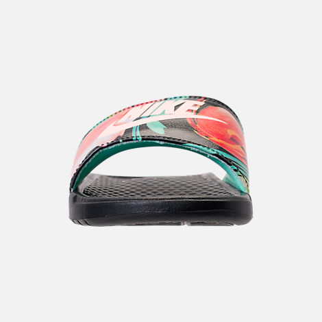 Front view of Women's Nike Benassi JDI Print Slide Sandals in Green Glow/Crimson Tint/Green Glow