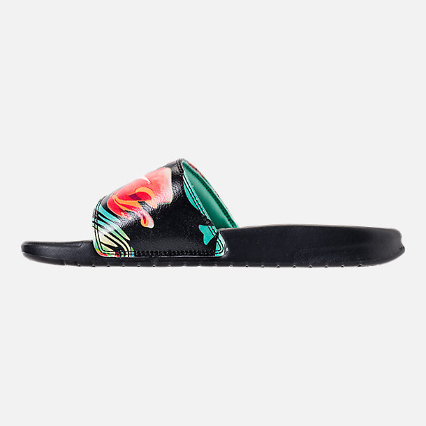 Left view of Women's Nike Benassi JDI Print Slide Sandals in Green Glow/Crimson Tint/Green Glow