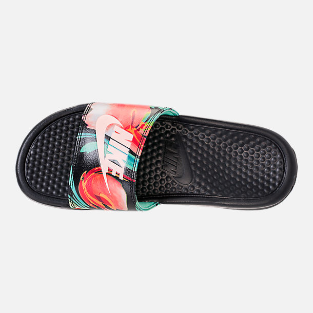 Top view of Women's Nike Benassi JDI Print Slide Sandals in Green Glow/Crimson Tint/Green Glow