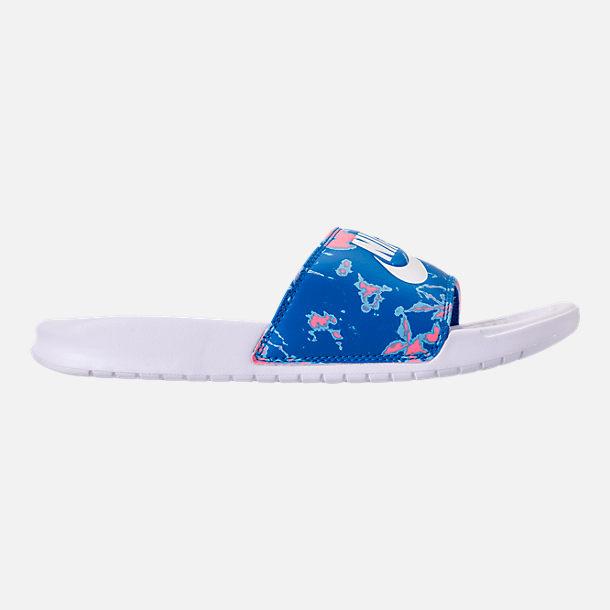928253f3b ... usa right view of womens nike benassi jdi print slide sandals in white  coral chalk 66b99
