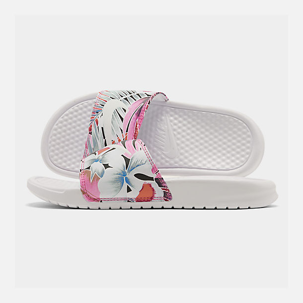 Right view of Women's Nike Benassi JDI Print Slide Sandals in White/Habanero/Ember Glow