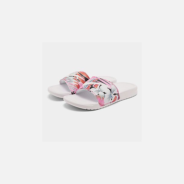 Three Quarter view of Women's Nike Benassi JDI Print Slide Sandals in White/Habanero/Ember Glow