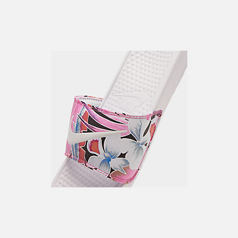 Front view of Women's Nike Benassi JDI Print Slide Sandals in White/Habanero/Ember Glow
