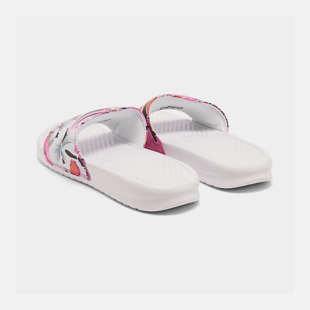 Left view of Women's Nike Benassi JDI Print Slide Sandals in White/Habanero/Ember Glow