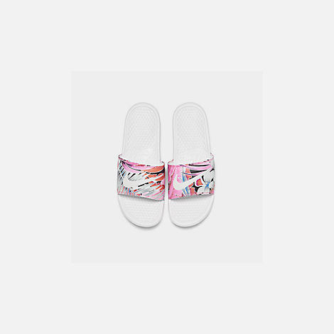 Back view of Women's Nike Benassi JDI Print Slide Sandals in White/Habanero/Ember Glow