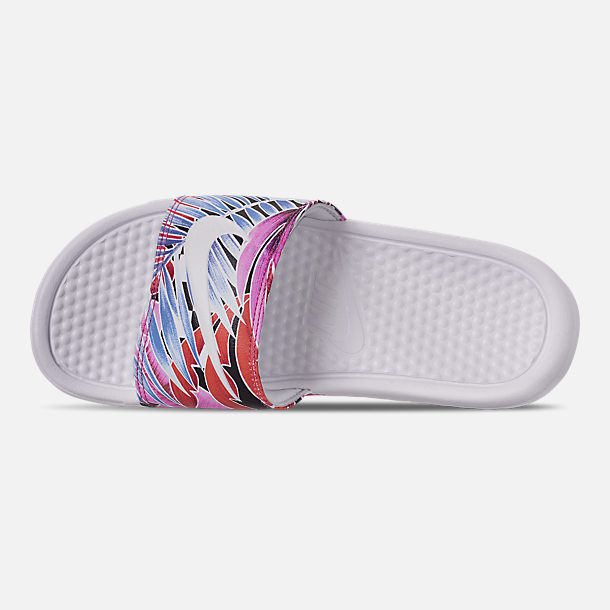Top view of Women's Nike Benassi JDI Print Slide Sandals in White/Habanero/Ember Glow