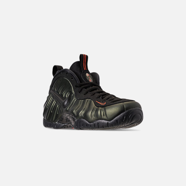 ea505ec51ec Three Quarter view of Men s Nike Air Foamposite Pro Basketball Shoes in  Sequoia Black