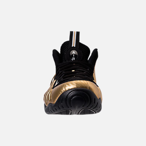 Front view of Men's Nike Air Foamposite Pro Basketball Shoes in Metallic Gold/Black/White