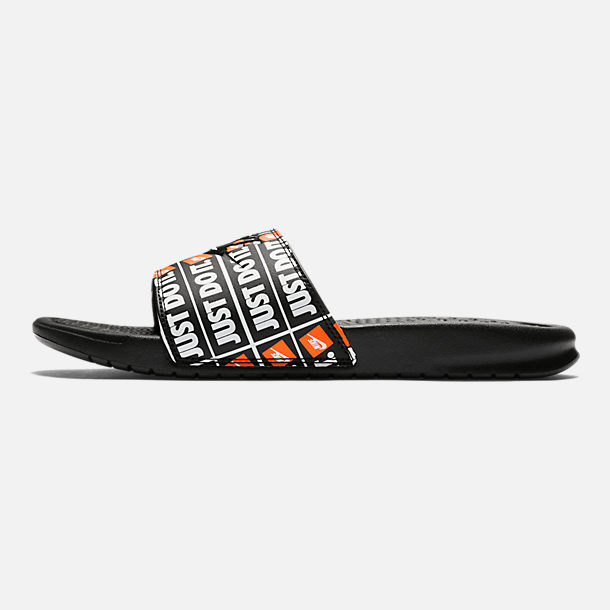 Right view of Men's Nike Benassi JDI Print Slide Sandals in Black/Black
