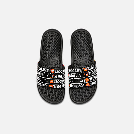 Back view of Men's Nike Benassi JDI Print Slide Sandals in Black/Black