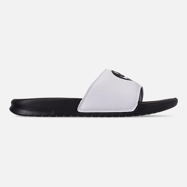 Right view of Men's Nike Benassi JDI Print Slide Sandals in Black/Black/White