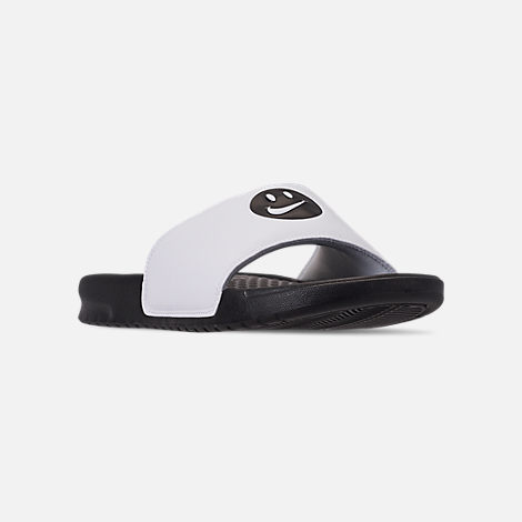 Three Quarter view of Men's Nike Benassi JDI Print Slide Sandals in Black/Black/White