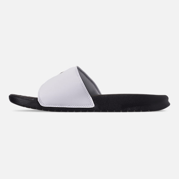 Left view of Men's Nike Benassi JDI Print Slide Sandals in Black/Black/White