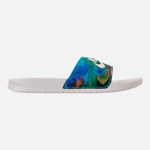 596316b83b7f65 ... ireland right view of mens nike benassi jdi print slide sandals in sail  mineral green 22627