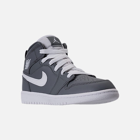 Three Quarter view of Kids' Preschool Air Jordan 1 Mid Basketball Shoes in  Cool Grey