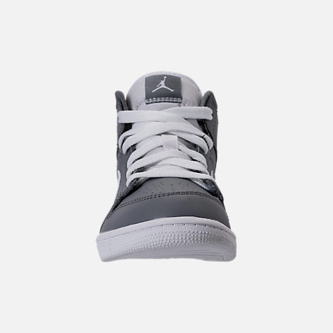 Front view of Kids' Preschool Air Jordan 1 Mid Basketball Shoes in Cool Grey/White/White